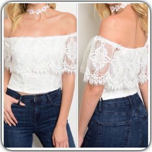Tops - Lace Off The Shoulder Top White